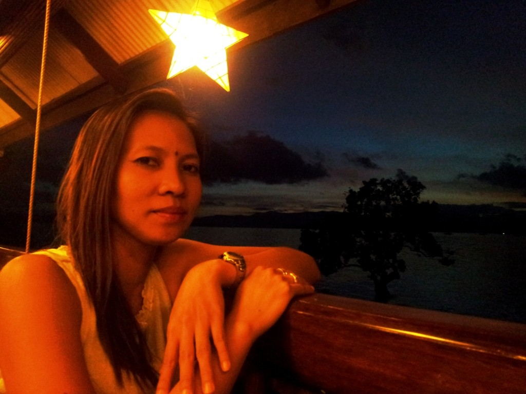 At Badjao Seafront Restaurant just after sunset.