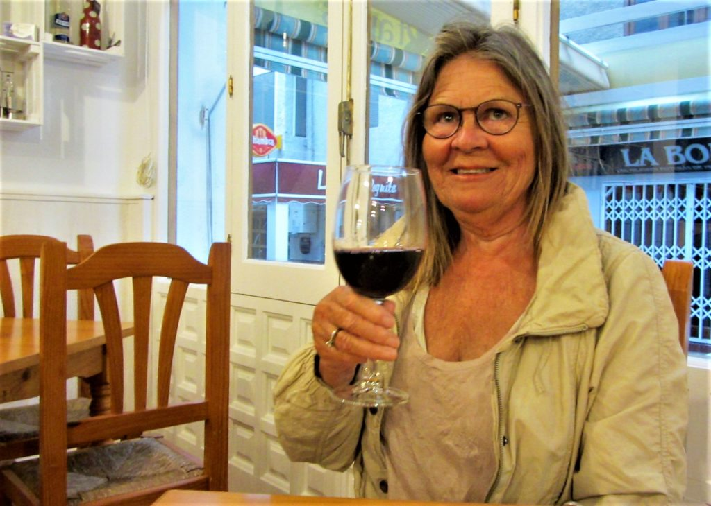 My friend, Ingeborg, enjoying the wine and conversations
